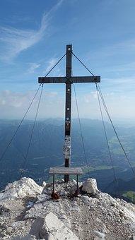 Alpspitze, Summit Cross, Summit, Alpine, Weather Stone