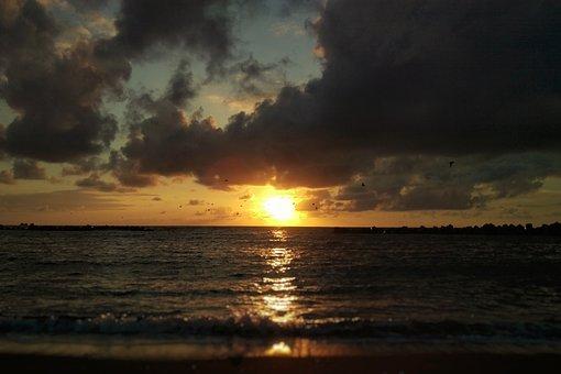 Sky, Cloud, Wind, Sea, Beach, Sunset, At Dusk, Natural