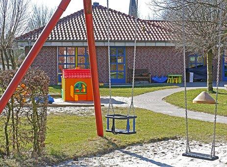 Kindergarten, Playground, Swing, Sand Pit, Playhouse