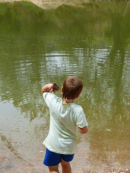 Child, Lake, Laguna, Stone Throwing, Throw Stones