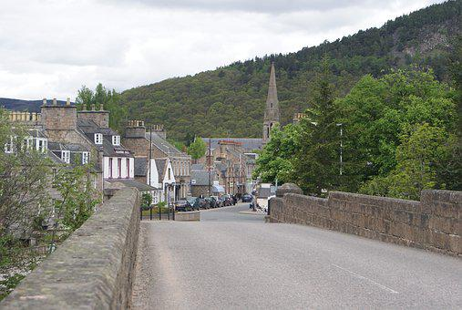 Road, Town, Highlands, Scotland, Travel, Small Town