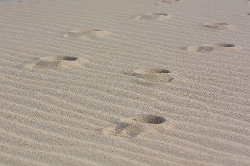 Footprints, Sand, Tracks In The Sand, Beach, Footprint
