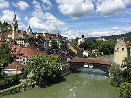 Baden, Switzerland, Aargau, Swiss, Village, Limmat