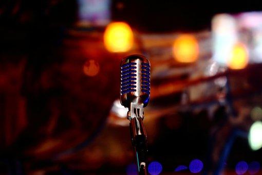 Microphone, Blue, Chrome, Sound, Music, Voice, Audio