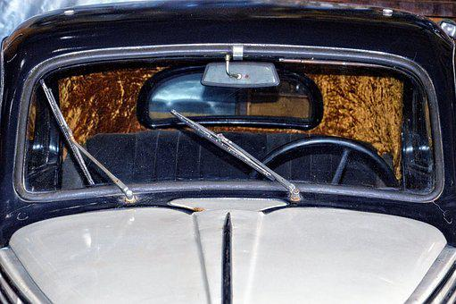 Car Front, Windshield, Windshield Wipers, Oldtimer
