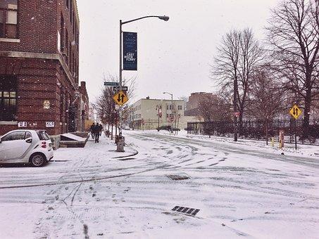Junction, Crossing, Winter, Street, Road, Traffic