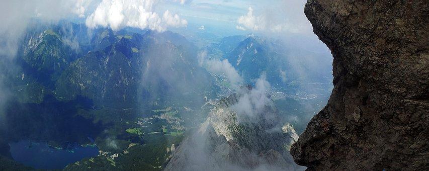 Zugspitze, Rock, Sky, Face, Fog, Water, High, Holiday