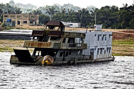 Shipwreck, Amazonas, Brazil, River, Water, Scenery