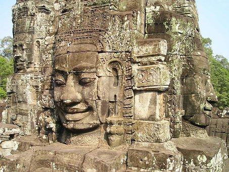 Angkor, Wat, Cambodia, Face, Stonemasonry, Stone