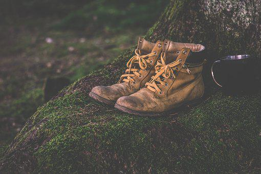 Boots, Cup, Daylight, Shoes, Grass, Hiking