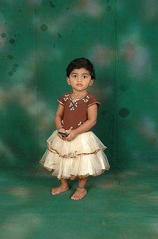 Girl, Child, Cute, Green Background, Standing, Kid