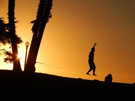 Sunset, Cord, Against Light, Shadow, Balance
