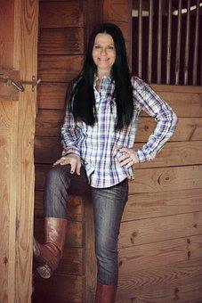 Country Girl, Woman, Barn, Farm, Farmer, Country