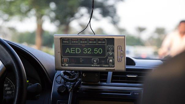 Taxi, Taximeter, Display, Ad, Pay, Dirham, Dubai