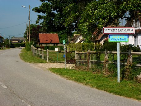 Graveron-semerville, France, Village, Road, Fence, Sign