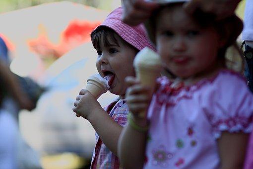 Kid, Heat, Ice Cream, Girl, Girls, Eating, Dessert