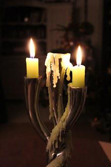 Candle, Flame, Nocturne, Warm, Wax, Green, Night
