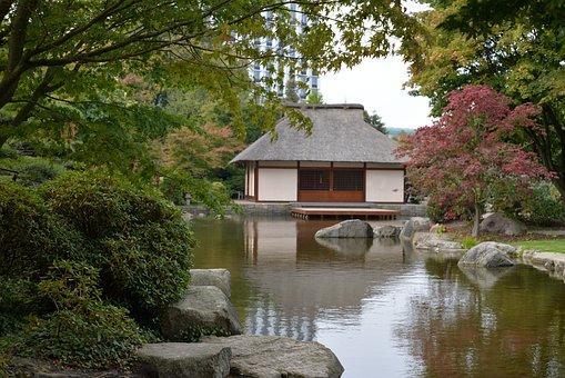 Garden, Zen, Japanese, Hamburg, Germany, Water, House