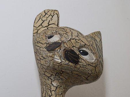 Cat, Statue, Look, Of Wood, Fugure, Furniture