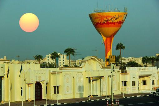 Doha, Middle East, Sun, Houses, Blue Sky, City, East