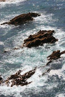 Rocks, Sea, Crashing Waves, Tide, Low Tide, High Tide