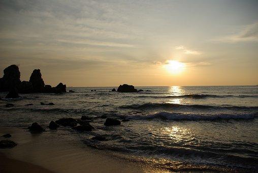 Chuam, Sunrise, Sea, Twilight, Waves, Land, Beach
