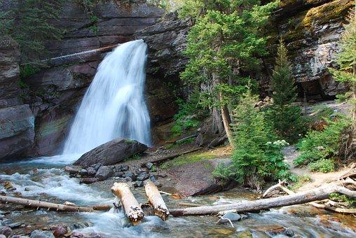 Waterfall, Landscape, Water, Waterfalls, Montana