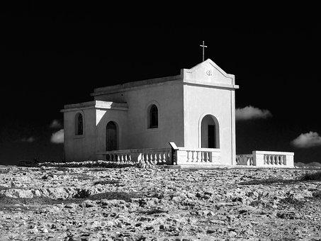 Chapel, Remote, Black, White, Church, Religion