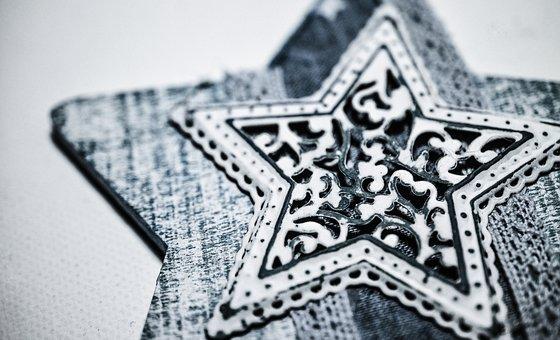 Star, Vintage, Decoupage, Wooden, Lace, Blue, Handmade