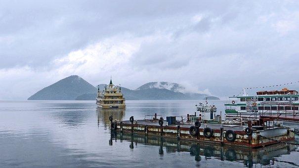 Lake, Lake Toya, Mountain, Ferry, Mist, National Park