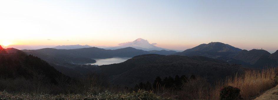 Hakone, Japan, Lake, Mountains, Mount Fuji, Sunset