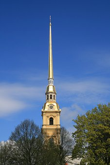 Tower, Bell, Spire, Gold, Tall, Landmark, Trees, Sky