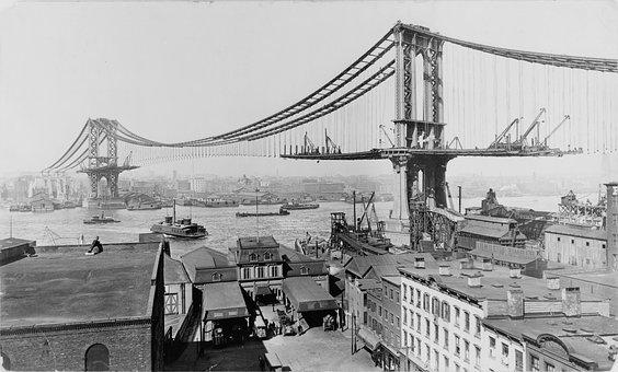 Suspension Bridge, Manhattan Bridge, Construction