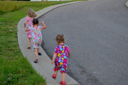 Children, Playing, Girls, Running, Hill, Outdoor