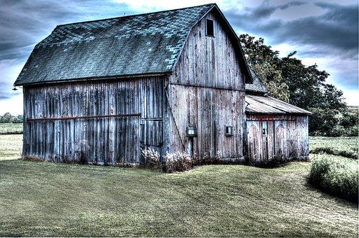 Barn, Farm, Rural, Sky, Clouds, Nature, Outside