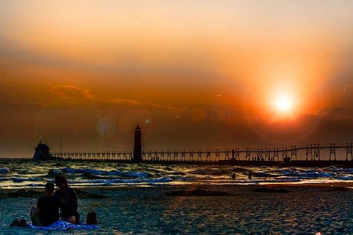 Lighthouse, Sunset, Lake, Ocean, Sea, Coast, Water