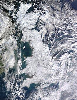United Kingdom, Winter, Aerial View, England, Iced