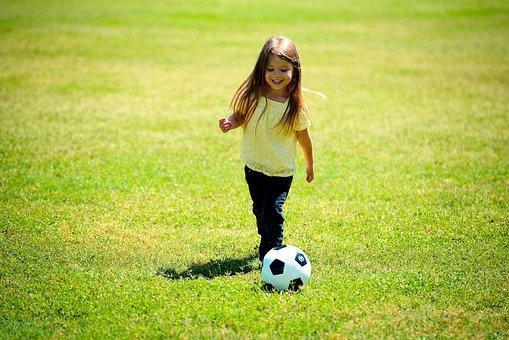 Girl, Playing, Soccer, Ball, Happy, Fun, Child, Kid