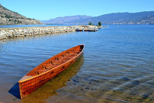 Boat, Lake, War Canoe, Landscape, Paddle, Summer