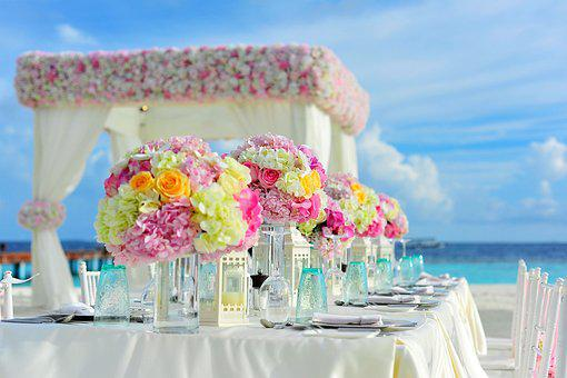Beach, Bunch Of Flowers, Celebration, Chairs, Colorful