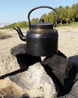 Nature, Tea, Fresh Air, Outdoors, Fire, Kettle, Teapot