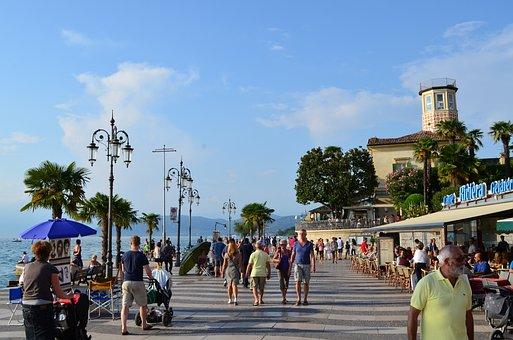 Garda, Lazise, Promenade, Water, Vacations, Italy, Lake