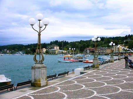 Promenade, Bank, Decorative, Lamp, Mosaic Road