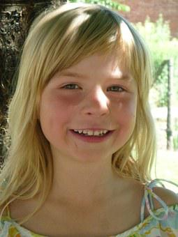Girl, Cheerful, Laugh, Blond, Milk Teeth, Tooth, Summer