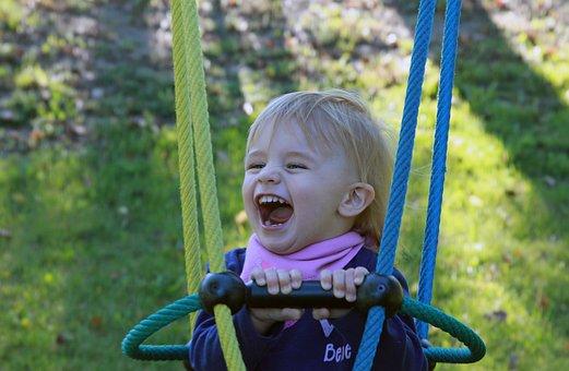 Child, Swing, Look Forward, Laugh, Girl, Milk Teeth