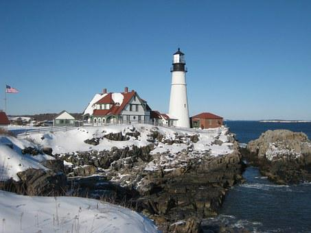 Lighthouse, Maine, Coastline, Ocean, Atlantic, New
