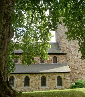 Romanesque, Church, Westerwald, Germany, Tree