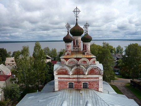 Ostashkov, Russia, River, Lake, Water, Church, Building
