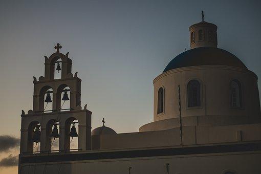 Church, Bells, Sunset, Santorini, Greece, Greek Islands