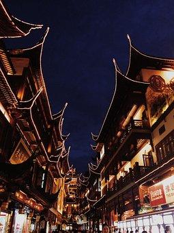 China, Shanghai, Look Up, City God Temple, Night, Light